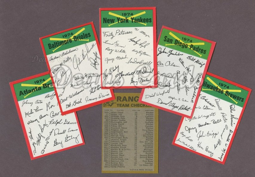 1974 Topps Red Team Checklists   Topps Red Team Checklist Baseball Complete Set